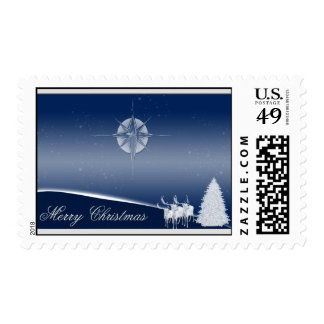Blue Deer Merry Christmas Postage