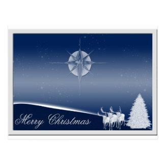 Blue Deer Merry Christmas Postcard