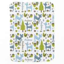 Blue Deer Personalized Baby Blanket