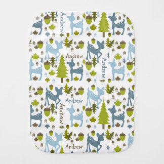 Blue Deer Personalized Burp Cloth