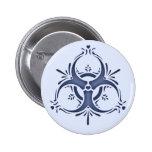 Blue Delft Biohazard 2 Inch Round Button