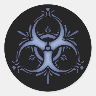 Blue Delft Biohazard Classic Round Sticker
