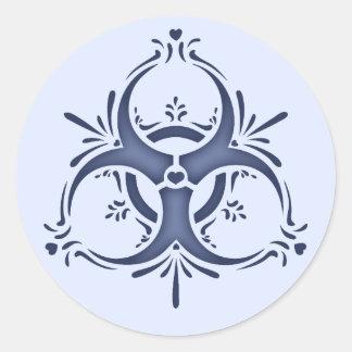 Blue Delft Biohazard Round Stickers