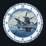 "Blue Delft Blue Windmill Large Clock<br><div class=""desc"">Blue and white are classic colors in home decor. They never go out of fashion. And this fabulous wall clock is done in Delft blue and white, with a traditional Delft design of windmills and sea and sky. This stunning wall clock would look great in a kitchen, bedroom, or living...</div>"