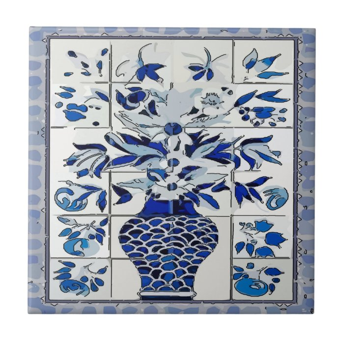 Blue delft flower vase tile mural zazzle for Delft tile mural