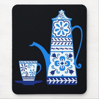 Blue delft, folk art coffee/tea pot mouse pad