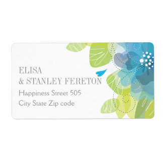 Blue delicate flowers floral spring wedding shipping label