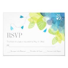 Blue delicate spring flowers floral wedding RSVP 3.5