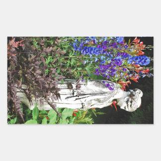 Blue delphinium flower garden and statue stickers