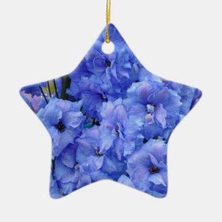 Blue delphinium flowers ceramic ornament