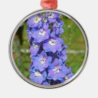 Blue delphinium flowers metal ornament