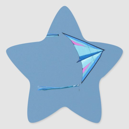 Blue Delta Kite on Blue Sky Star Sticker