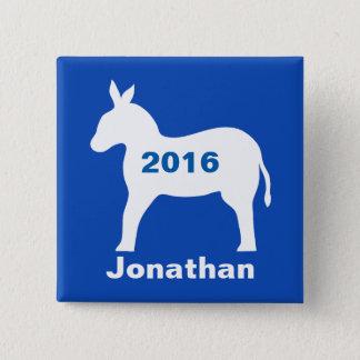 Blue Democratic Donkey 2016 Election Name Badge Button