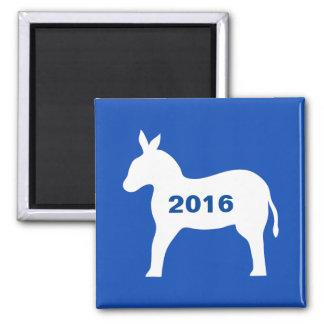 Blue Democratic Donkey 2016 Elections Custom 2 Inch Square Magnet