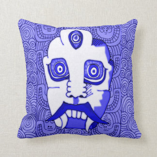 Blue Demon Head Throw Pillow