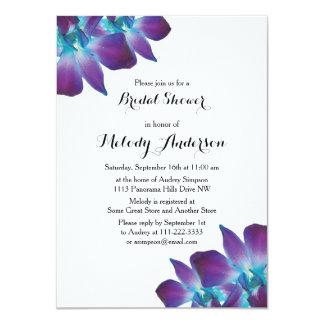 Blue Dendrobium Orchid Bridal Shower Invitation