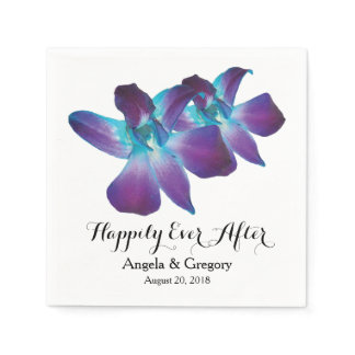 Blue Dendrobium Orchid Happily Ever After Wedding Paper Napkin