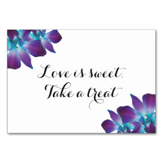 Blue Dendrobium Orchid Love is Sweet Wedding Sign Table Number