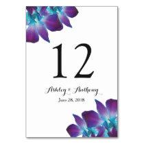 Blue Dendrobium Orchid Wedding Card