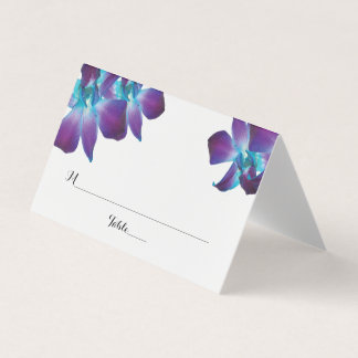 Blue Dendrobium Orchid Wedding Folded Place Cards