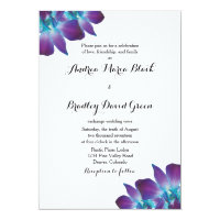 Blue Dendrobium Orchid Wedding Invitation