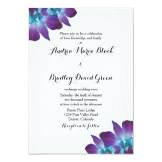 Amazing Blue Dendrobium Orchid Wedding Invitation