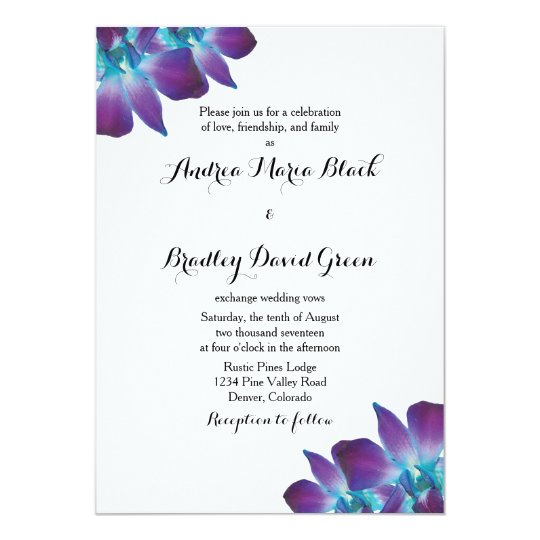 Blue Dendrobium Orchid Wedding Invitation | Zazzle.com