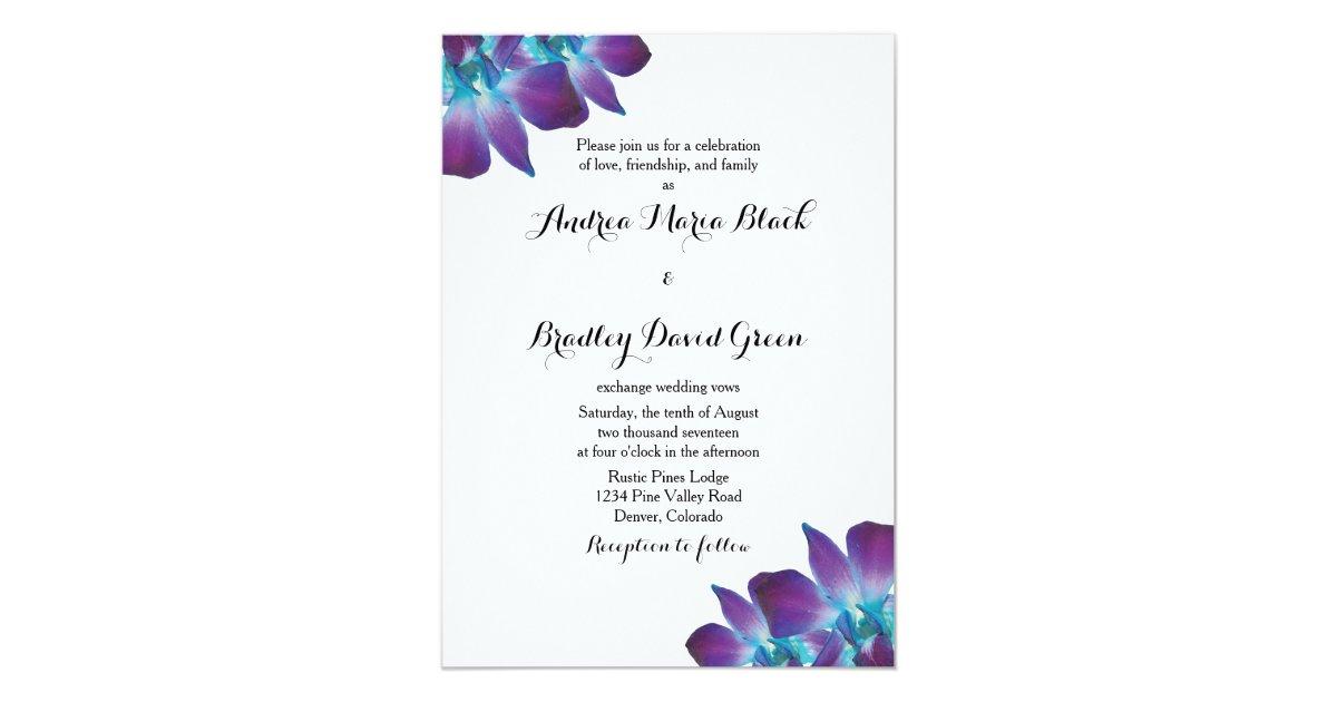 Blue Orchid Wedding Invitations: Blue Dendrobium Orchid Wedding Invitation