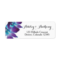Blue Dendrobium Orchid Wedding Return Address Label
