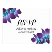 Blue Dendrobium Orchid Wedding RSVP Postcard