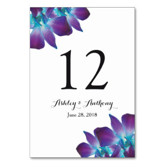 Blue Dendrobium Orchid Wedding Table Number