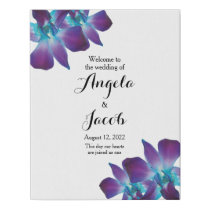Blue Dendrobium Orchid Wedding Welcome Sign