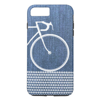Blue denim Abstract Bicycle dots iPhone 8 Plus/7 Plus Case