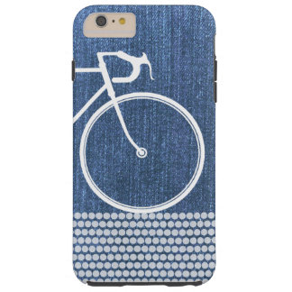 Blue denim Abstract Bicycle dots Tough iPhone 6 Plus Case