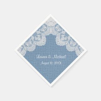 Blue Denim and Lace Wedding Paper Napkin