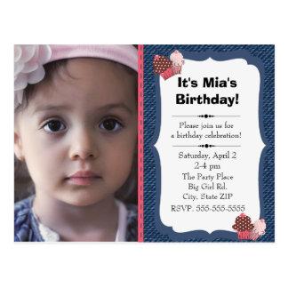 Blue Denim and Pink Cupcakes Little Girl Birthday Postcard