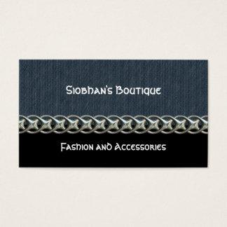 Blue denim, black, silver chain, monogram business card