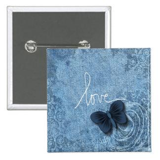 Blue Denim Butterfly Love Pinback Buttons