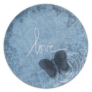 Blue Denim Butterfly Love Dinner Plate