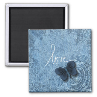Blue Denim Butterfly Love Magnet