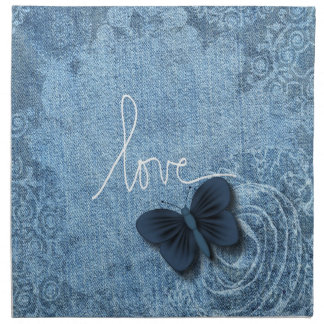 Blue Denim Butterfly Love Napkin