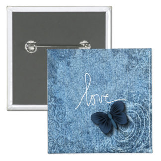 Blue Denim Butterfly Love Pinback Button