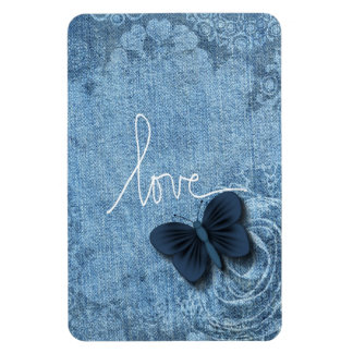 Blue Denim Butterfly Love Rose Magnet