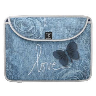 Blue Denim Butterfly Love Sleeve For MacBooks