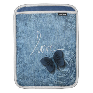 Blue Denim Butterfly Love Sleeves For iPads