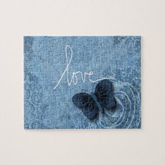 Blue Denim Butterfly Love Sweet Puzzle
