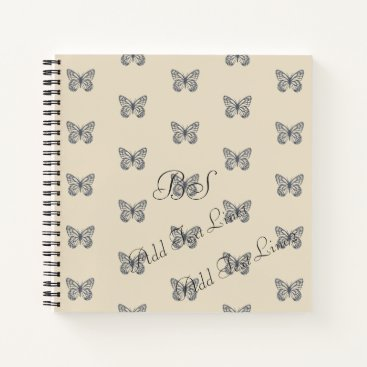Beach Themed Blue Denim Butterfly Pattern Add Text Notebook