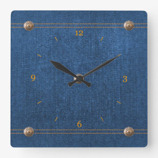 Blue Denim Button Down Jeans with Stitching Square Wall Clock