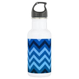 Blue Denim Chevron Water Bottle
