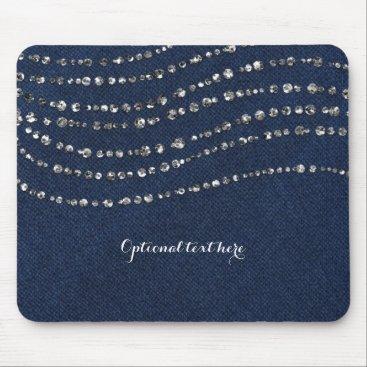 McTiffany Tiffany Aqua Blue Denim & Diamonds Faux Sparkle Bling Chic Mouse Pad